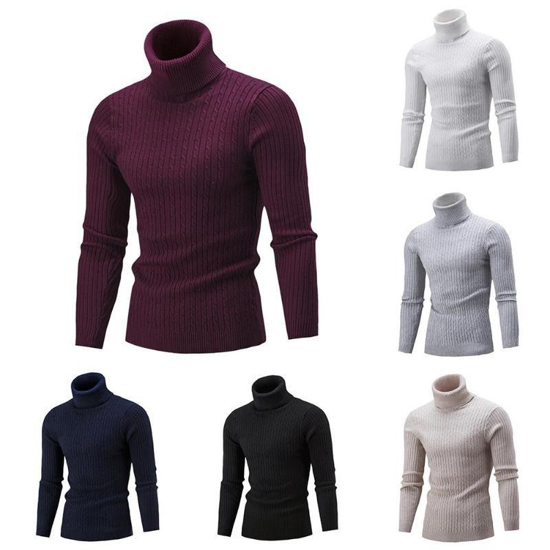 2020 كنزة الشتاء للرجال الصلبة اللون سلحفاة الرقبة مضلع تويست الملابس سترة بلوفرات المدورة ذكر البلوزات