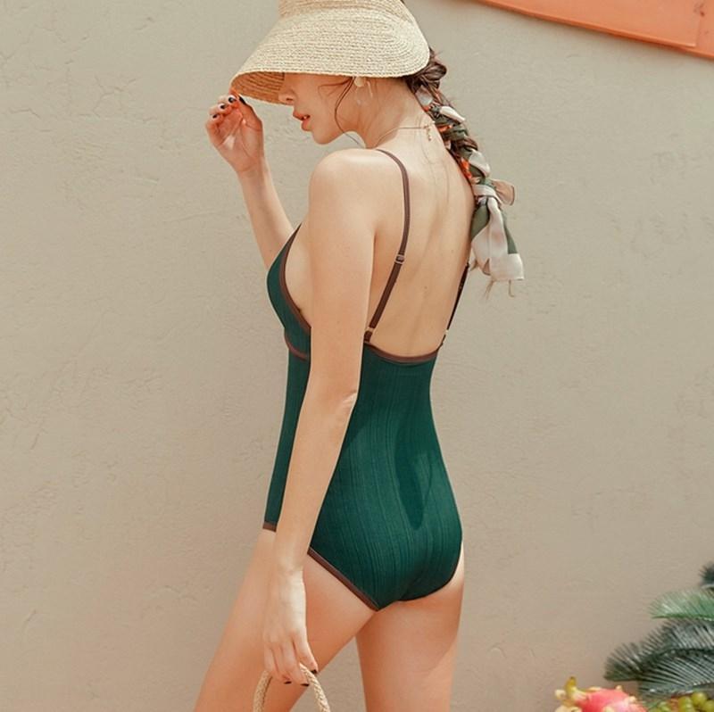QeaOB primavera 2020 de una sola pieza atractiva japonés y coreano sin respaldo de adelgazamiento caliente de las mujeres del traje de baño traje de baño las mujeres Nuevos