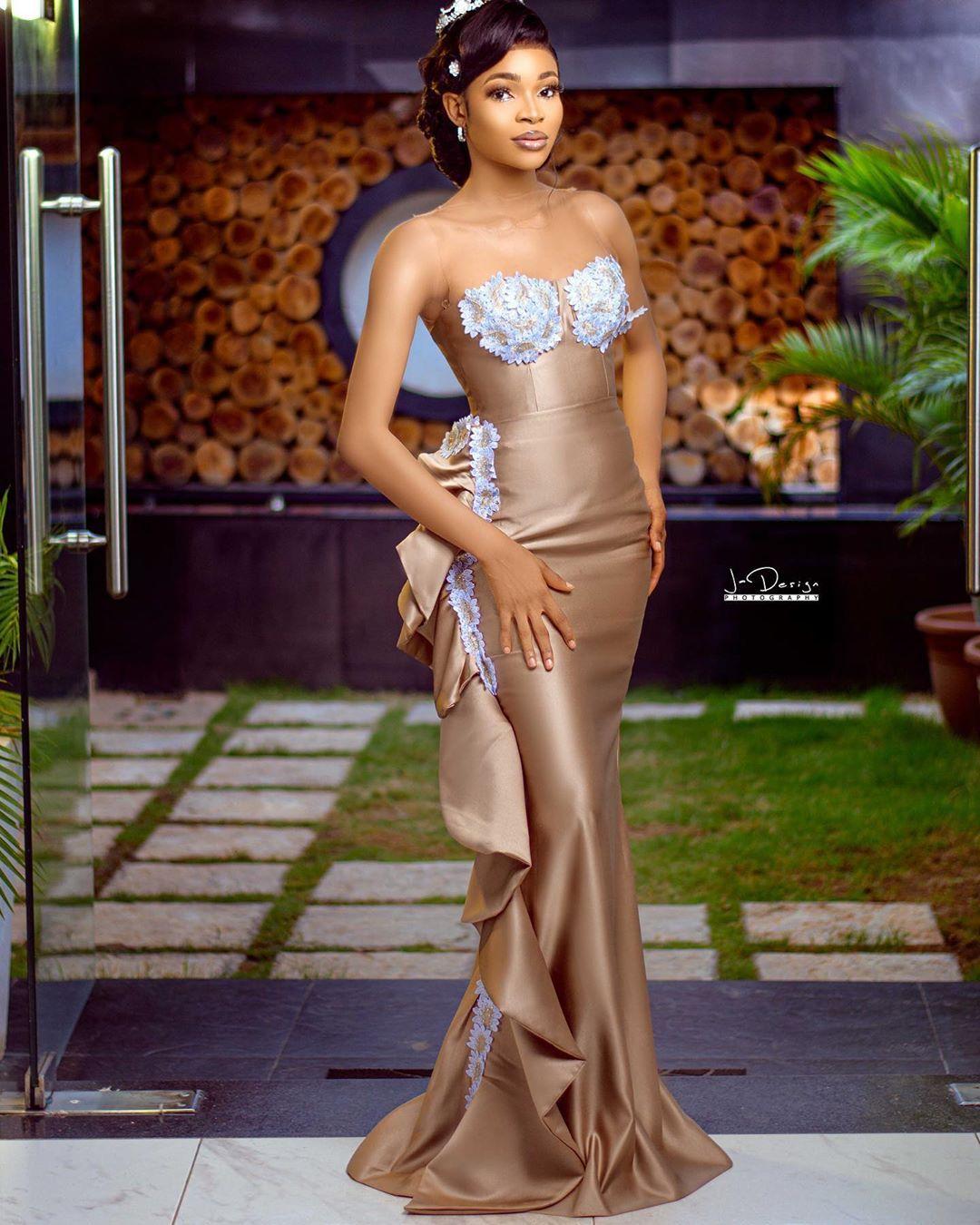 2020 Arabisch Aso Ebi Goldspitze wulstige Abendkleider Sheer Ausschnitt Prom-Kleid-Nixe-formaler Partei-Zweiter Empfang Kleider ZJ0443