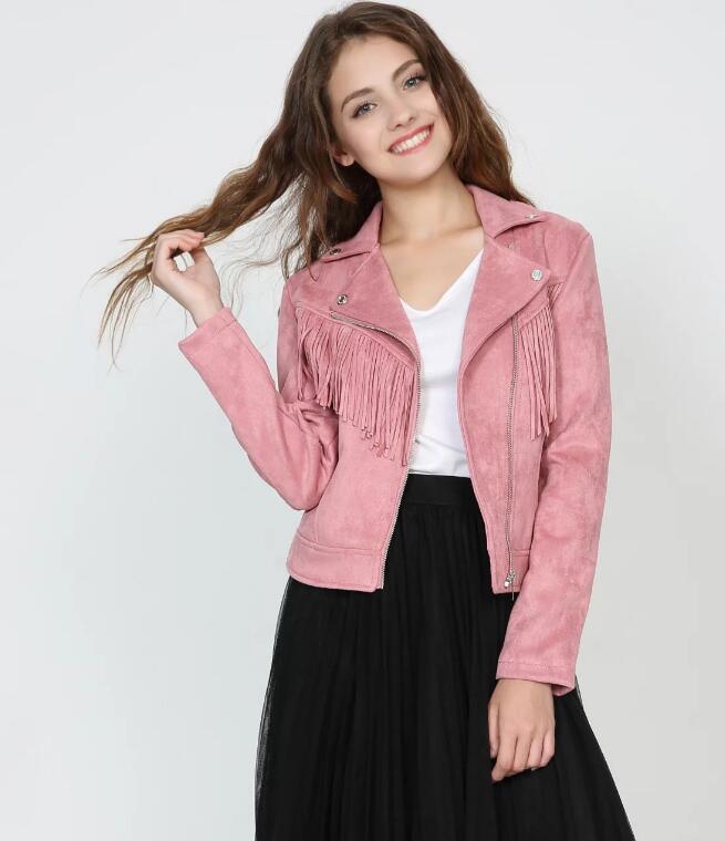 modo di alta qualità Nuovo nuova frange in pelle sottile giacca di pelle scamosciata cappotto breve rivestimento delle donne bavero cerniera tuta sportiva parka
