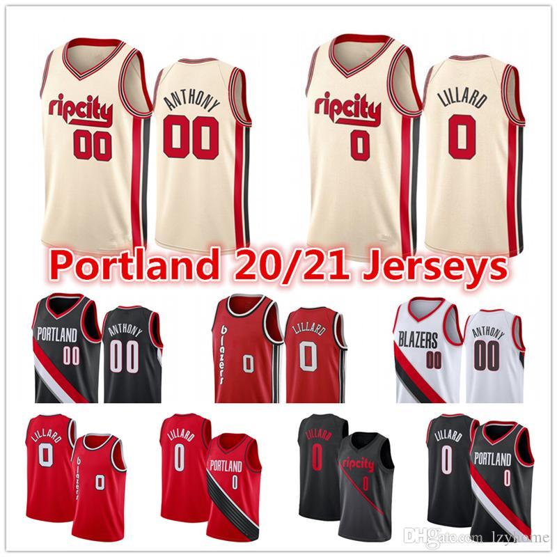 Erkek Damian 0 Lillard 2020 PortlandizBlazersİl Şort Carmelo # 00 Anthony Cj C.J 3 McCollum Basketbol Formalar