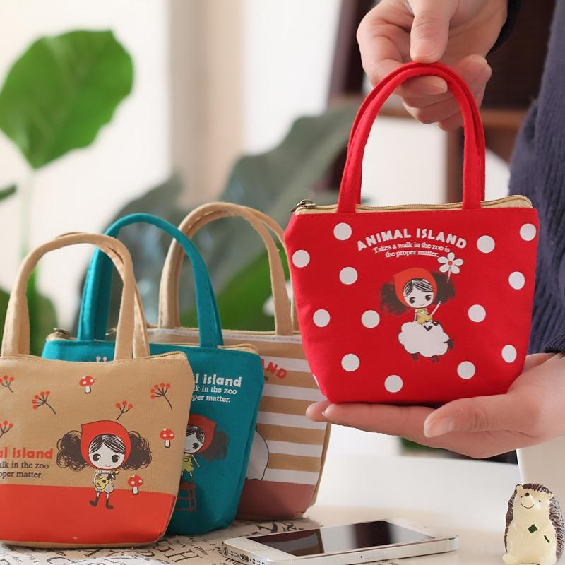 Coreana carina PRA ragazza tenuta tela Canvas portafoglio portafoglio della moneta borsa del fumetto del sacchetto di moneta chiave tessuto carino