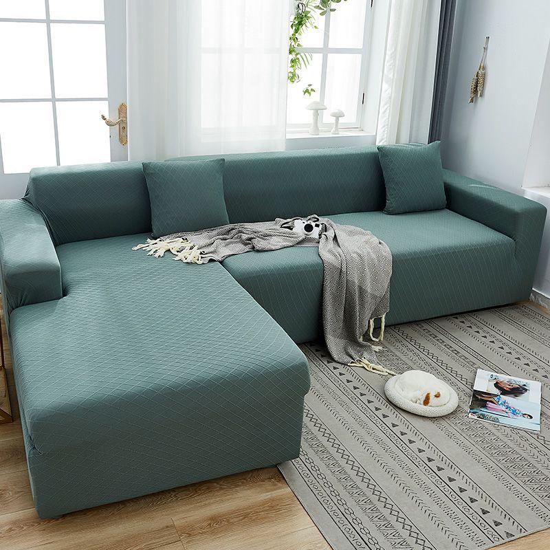 cubierta de sofá-cubierta completa con cubierta de sofá color puro, colchón jacquard simple y de alta calidad universal para todas las estaciones