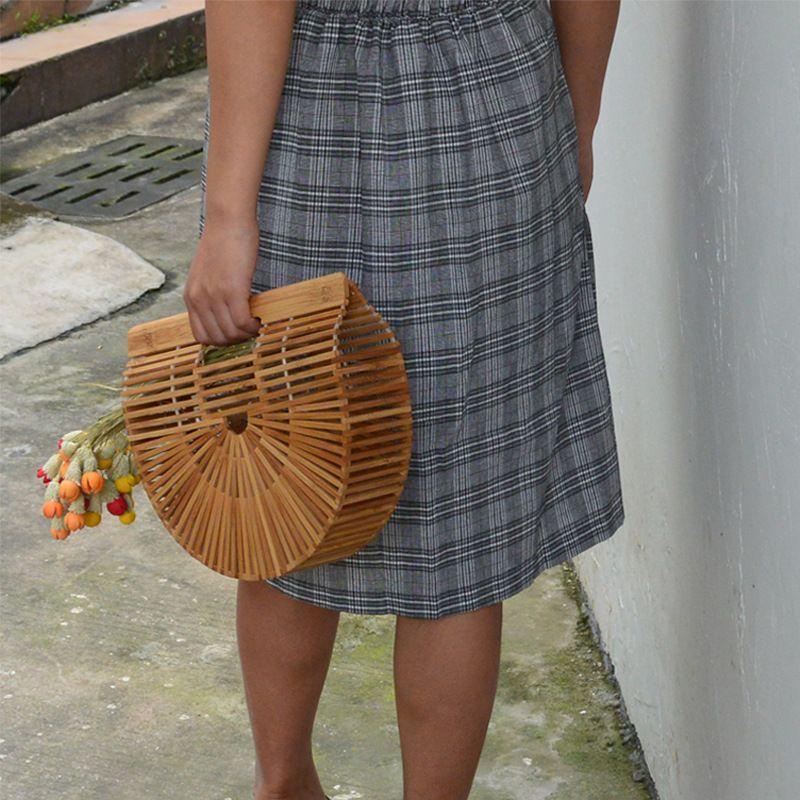 Пляж Бамбуковая тканая женская сумка Круглая Сумка Rattan Handmade Clutt 2020 Летние Женская Женская Tote Маленький Woven UICAP