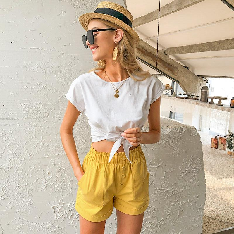 Casual solid women t shirt tops Spring summer female cotton top shirts Elegant party holiday ladies tied white Womens Designer T Shirts