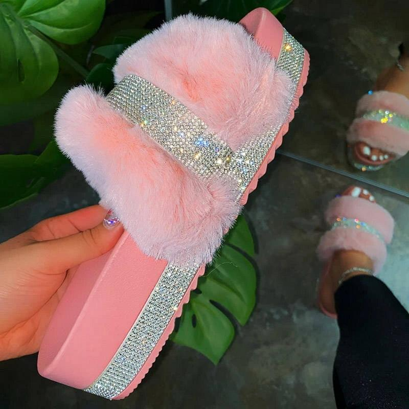 Kadınlar Kürk Terlik Yaz Kürklü Slaytlar Kadın Kabarık Kapalı ayakkabı Kadın Bling bulanık Slide Ev Kaydırıcılar toptan dropshipping