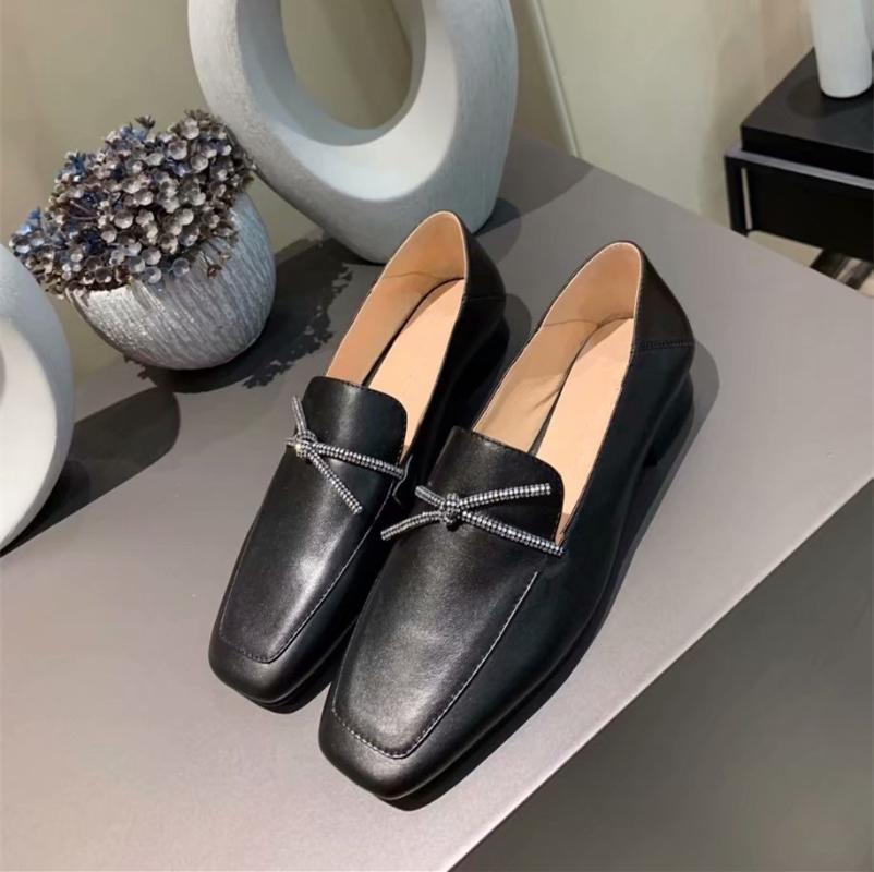 Couro loafers baixo sapatos de salto 2020 novos sapatos único versáteis sapatos de couro bowknot