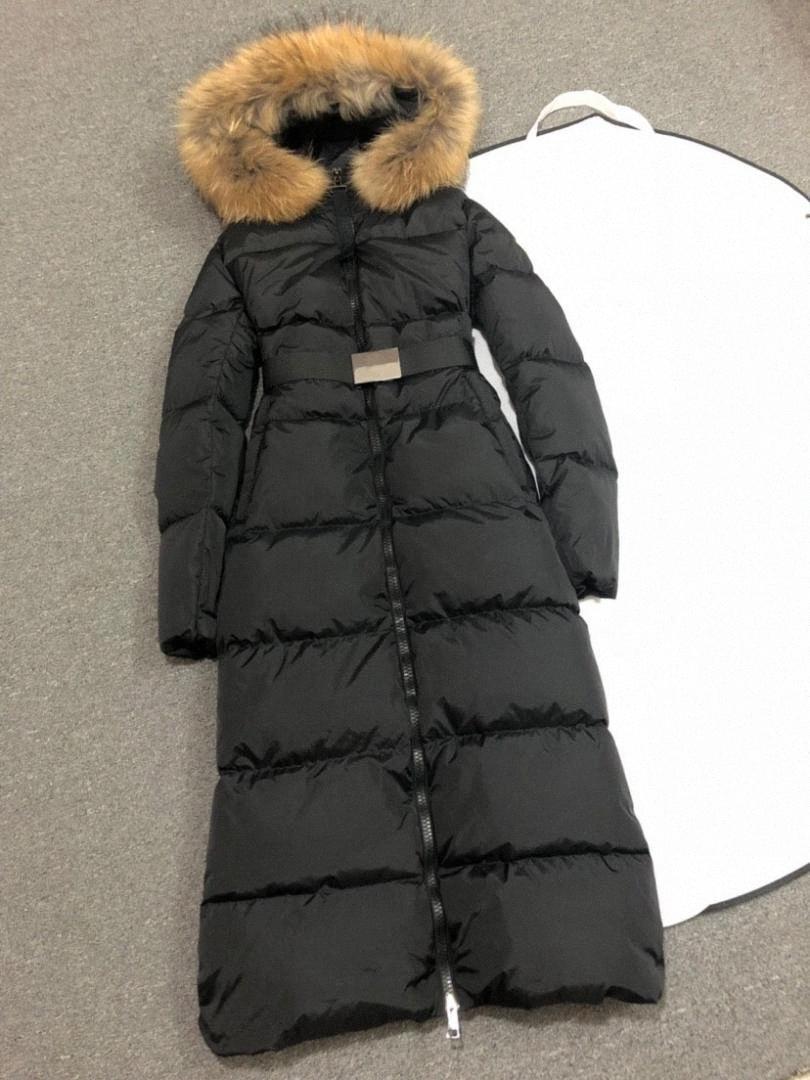 Меховой воротник женщина вниз проложенный Parka зима куртки Длинных пальто Женской Канада Дама ветровки с капюшоном вниз пальто Экстремальной погоды Outwear CFS3 #