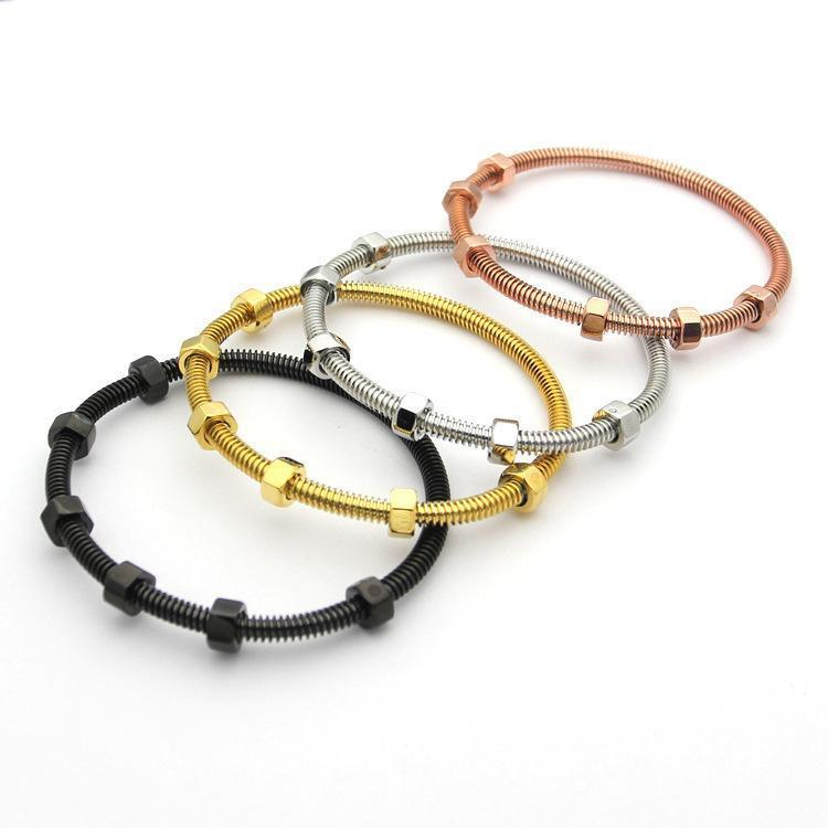 Tornillo de moda pulsera de acero de titanio amor de los hombres de los brazaletes con 6 y rosca de acero de oro rosa pulsera de oro encanto para las mujeres y joyas de amor