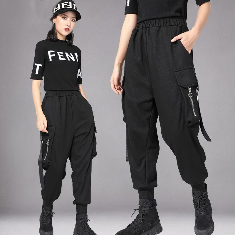 2020 moda hip hop dance calças dança Adulto Rua solto calças pretas Mulheres Casual pés Largura Rave Macacões BL4277