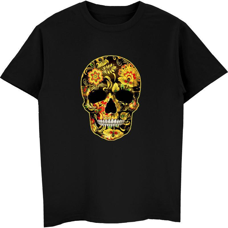 Flower Skull T-Shirts Candy Day Of The Dead Mexico Sugar Skull Gothic Tops Tee Shirts Men Short Sleeve Cotton Tshirt Tees Tops