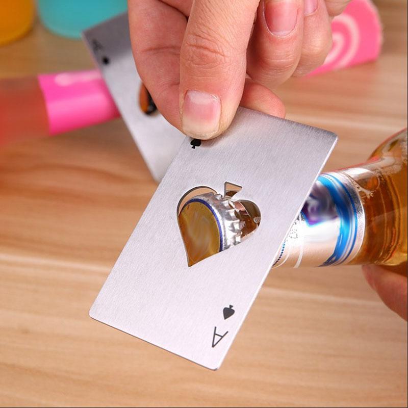 Paslanmaz Çelik Şişe Açıcı Bar Maça A Araçları Mini Cüzdan Kredi Kartı Açacakları Dekor Bar WX9-1358 Poker Oynama Kart Pişirme