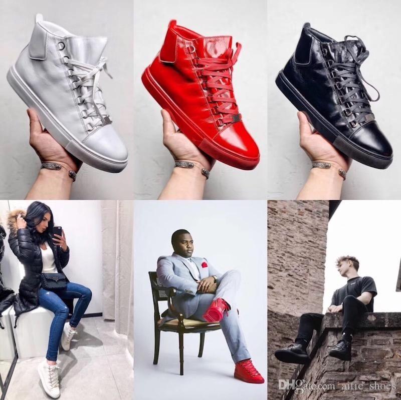 Adam arena Beyaz Kırmızı Buruşuk Düşük Kesim Sneaker Moda Tasarımcısı Ayakkabı tüm kutu boyutu 13 ile siyah yüksek üst buruşmuş deri eğitici sneakers
