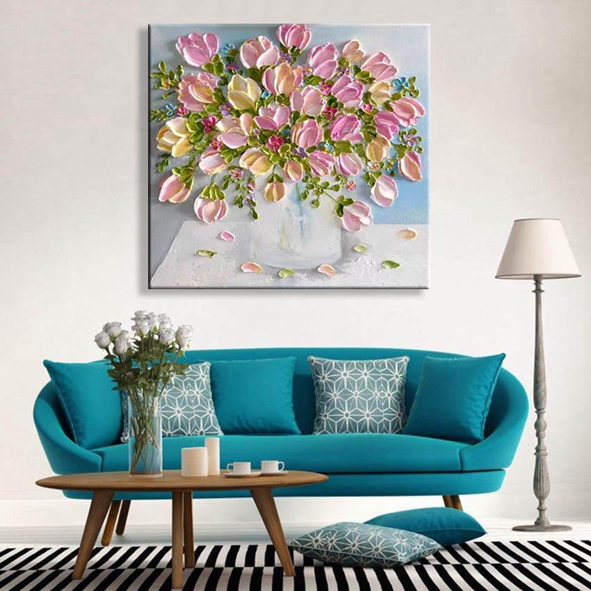 Abstrakt Schöne rosa Tulpe-Blumen handgemaltes Ölgemälde auf Leinwand Wandbehang Bild für Wohnzimmer-Sofa Hintergrund