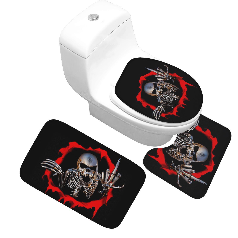 Honlaker Skull Series Set di 3 pezzi vasca servizi igienici Tappetino di alta qualità flanella ispessito bagno antiscivolo stuoie e servizi igienici coperchi Y200407