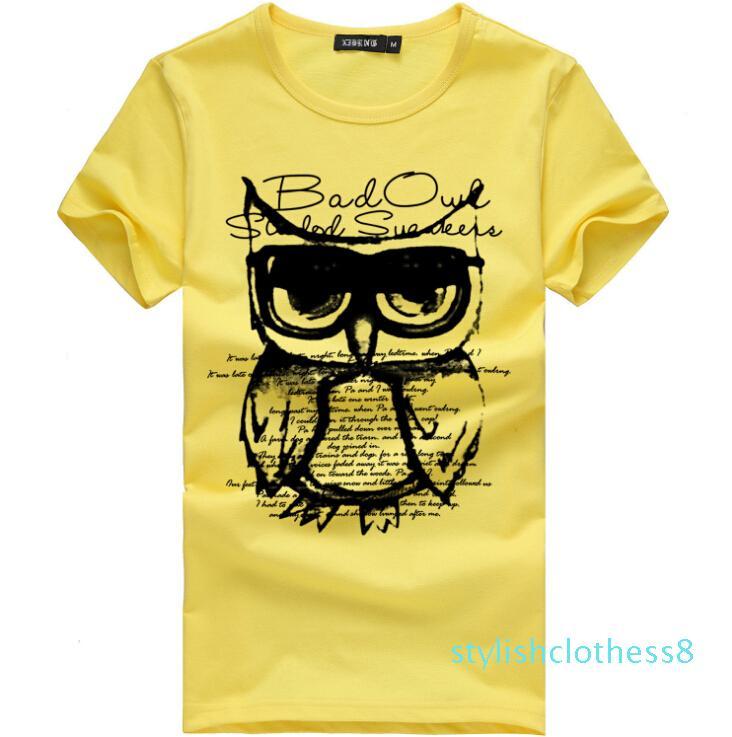 Мода коротким рукавом Печатный Мужской Футболки Мужские футболки Топы Cotton Casual Tee c08s08