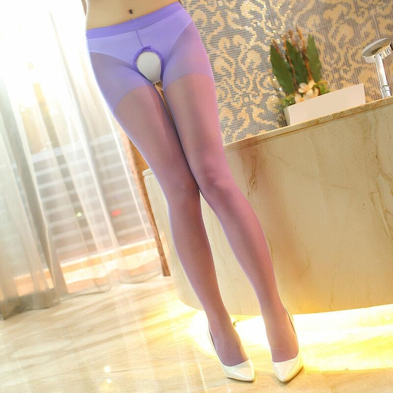 RnngK Sexy two-side underpants open-gear ankle transparent silk stockings women's base pantyhose adult sexy silk stockings free from temptat