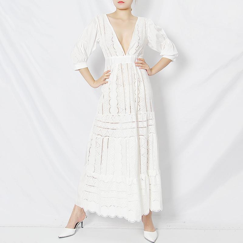 A line Half Sleeve White Hollow Out Dresses For Women V Neck High Waist Lace Minimalist Elegant Dress Female 2020 Summer New Tide