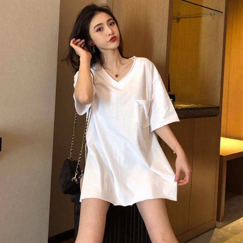 2020 nuova manica corta allentato superiore delle donne rUzR5 VBpz3 Estate coreano stile spaccatura con scollo a V T colore solido-versatile T-shirt mutande mutande s