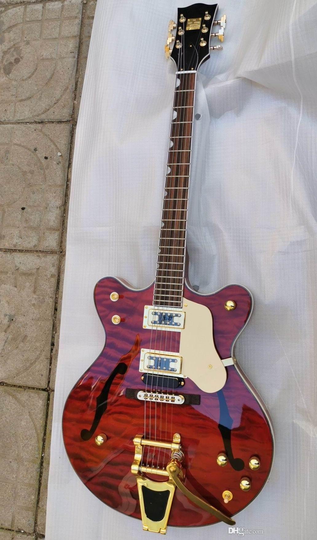 Оптовая Новый Gretschmodel 6136 Джаз электрогитара в оранжевый 191105