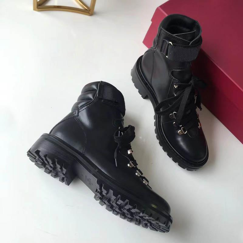 Hot Sale- Leather BOOT lace-up boots Sneakers High-Top 40cm Designer Shoes Trainers Casual Shoes Sandals Slippers Slide For woman by EMS