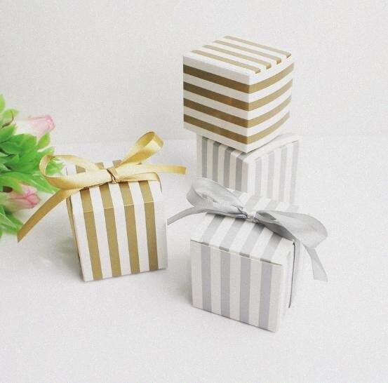 Plata rayado 50pcs creativo Oro / Cuadrado favores de la boda del partido de dulces cajas de Suministros caja de regalo caja de chocolate Bomboniera ttSr #