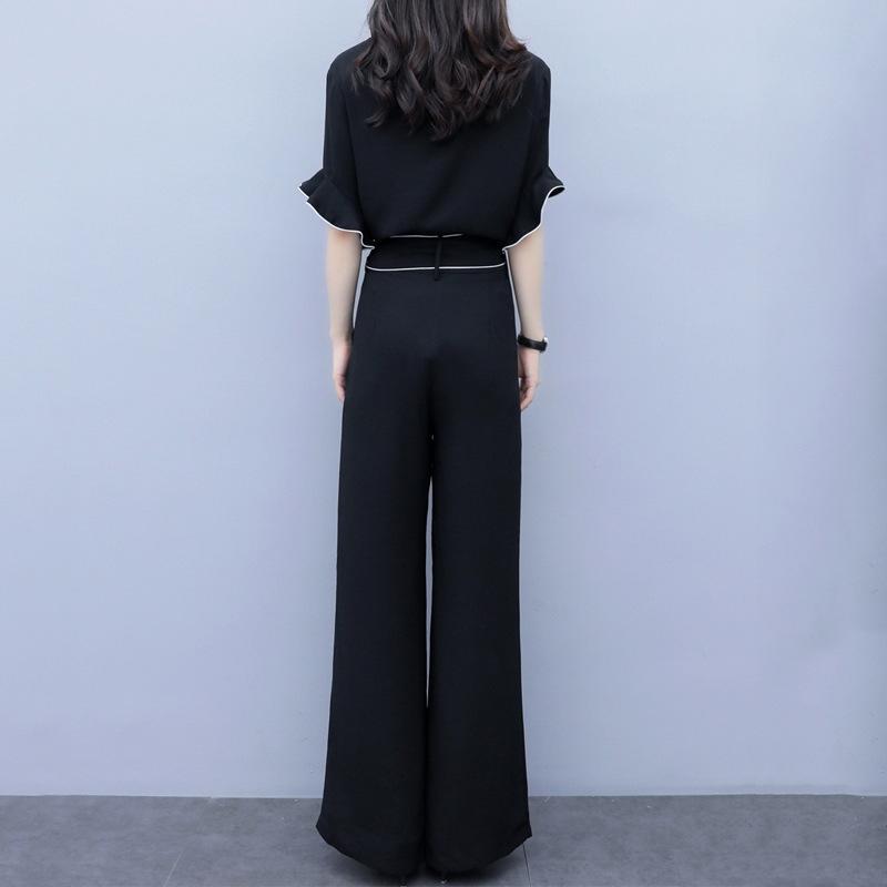OywXV Weit Bein des Sommers der Frauen 2020 neue Yujie Temperament Chiffon hohe Taille schlank moderne beiläufige zweiteilige Hosen mit weitem Bein und Hosenanzug