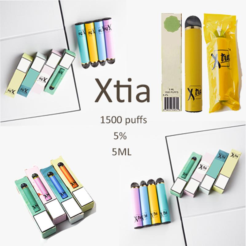 vaporizador desechable nuevos 12 colores Xtia 5 ml 1500puffs cartuchos de inicio Kits precargadas Vape Plumas kits de iniciación cigarrillos vacías E