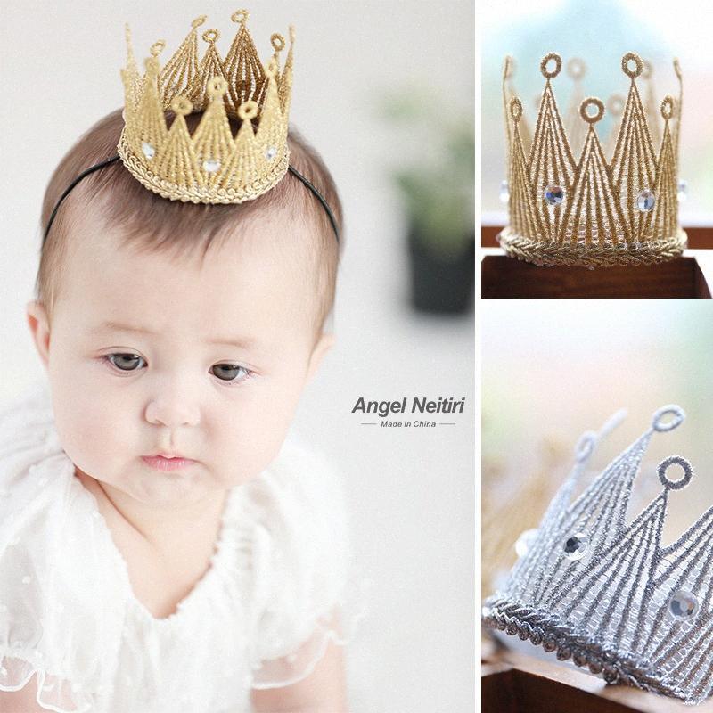 Corea alta calidad Golden Crown accesorios del pelo para las niñas Niños arco banda para el cabello hecha a mano Hairbands venda cristalina Enev #