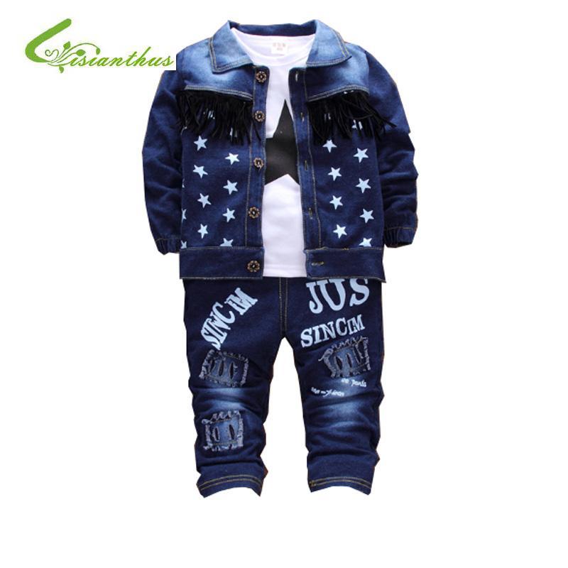 Recém-nascido Denim Único Breasted 3Pcs / set (Brasão + camisa T + Jeans) da luva do bebê Bebé recém-nascido roupa cheia Boy Clothes