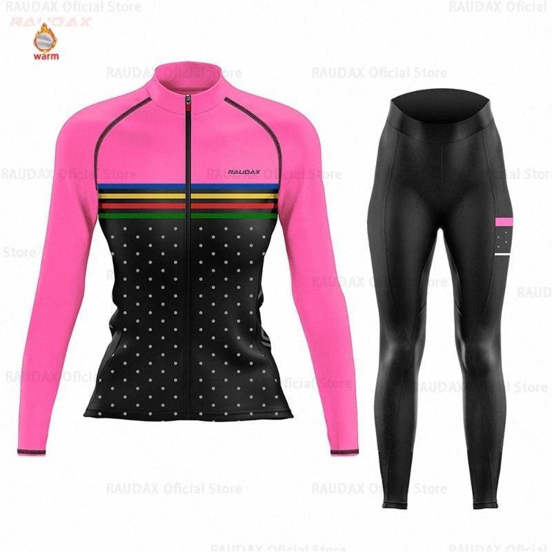 Cyclisme Jersey 2020 Pro Women équipe Raudax hiver Toison Vêtements de vélo VTT Salopette Set Ropa Ciclismo Triathlon Set XMzD #