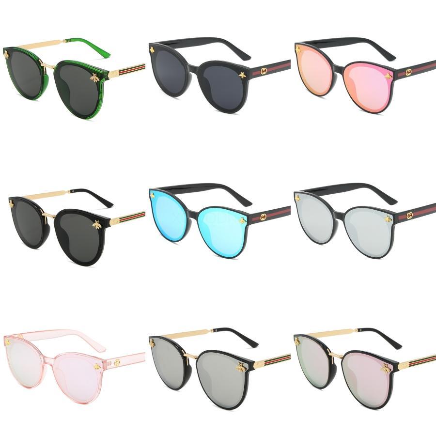 2020 Rodada Retro Óculos óculos de sol novos Bee Red Moda Verde UV dos óculos de sol Vintage # 463