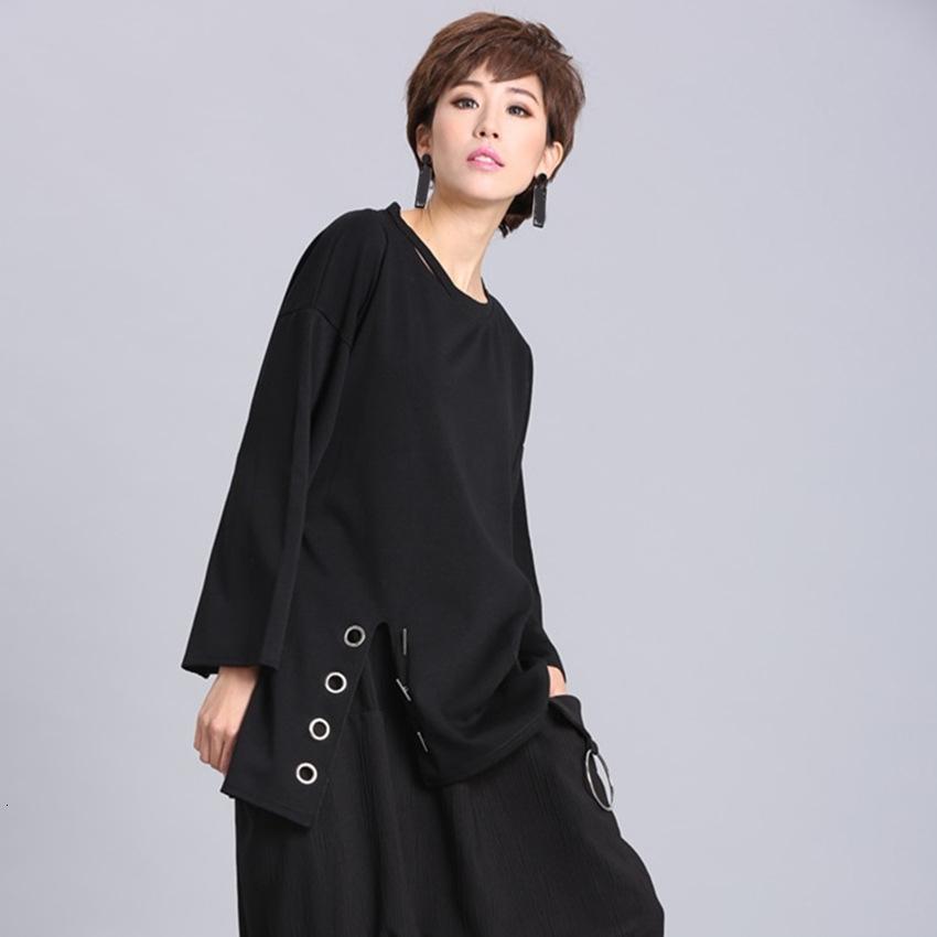 [EAM] 2020New Frühlings-Sommer-Schwarz-volle Hülsen-O-Kragen-Split Pullover Personality Frauen arbeiten Gezeiten lose beiläufige T-Shirt OA881 MX200721