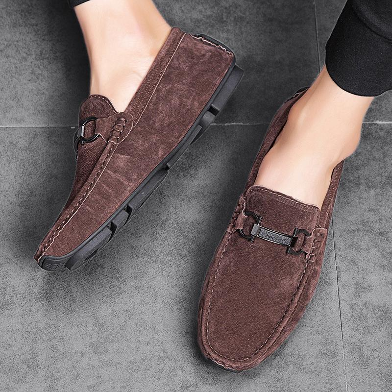 Loafers Men Shoes Pig Suede Leather