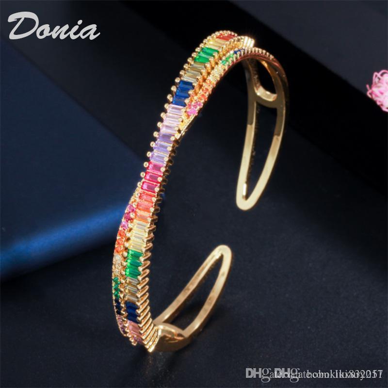 gioielli Donia Christmas colorful rame esagerata micro intarsio zircone personalità braccialetto registrabile del partito disegno geometrico regalo di compleanno