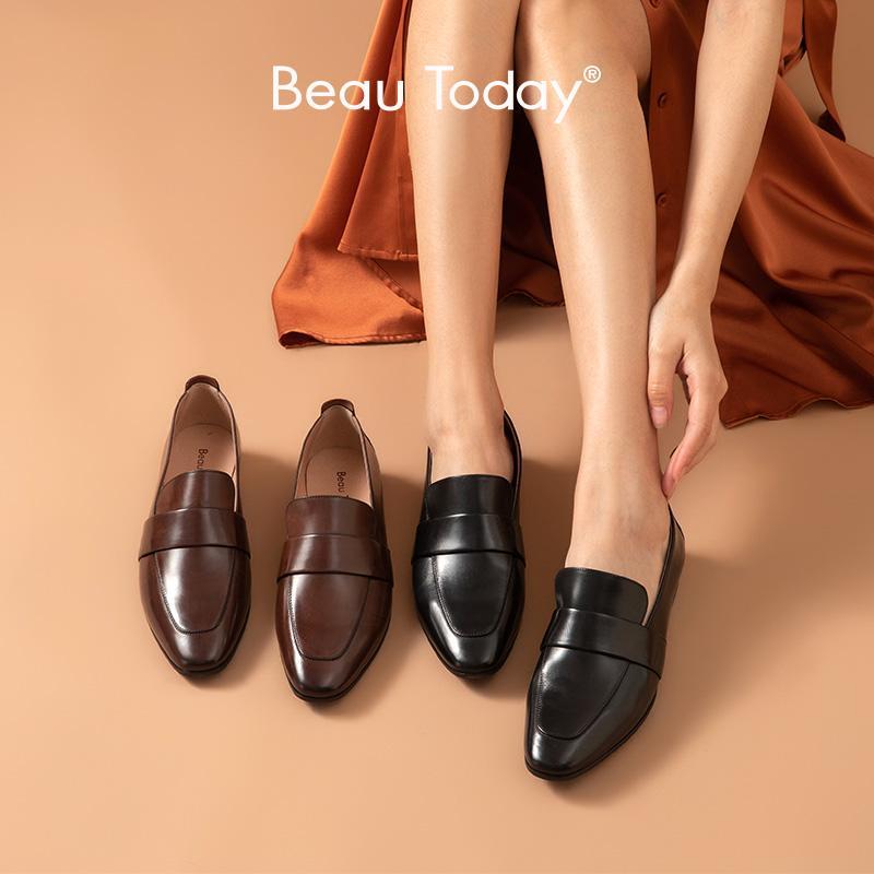 BeauToday Penny Loafers Kadınlar Makosenler Ağda Dana derisi Deri Flats Yuvarlak Burun Bayanlar Günlük Ayakkabılar El yapımı 27194