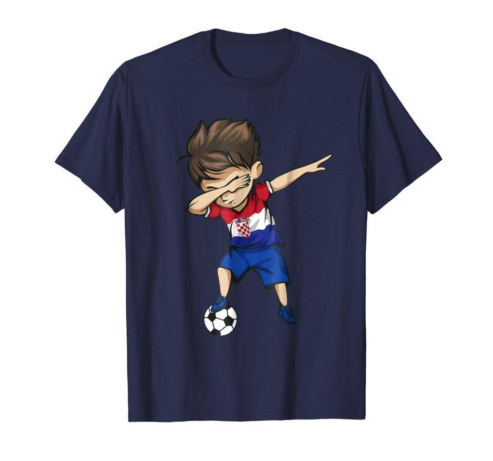 Dabbing Menino do futebol Croácia Jersey A camisa dos homens croata Futebolista Legend Soccers Unisex Homens T-shirt da aptidão