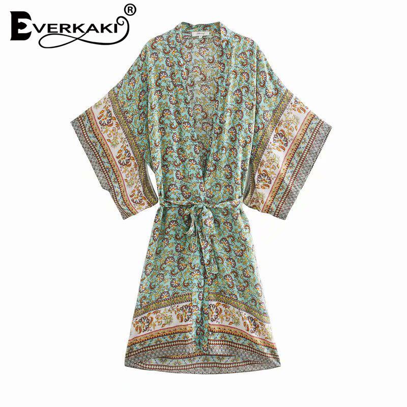 Everkaki Boho Floral Imprimir Kimono Coats Mulheres Verão Sashes solto Bikini geral Gypsy Ladies Kimonos Feminino 2020 New Fashion