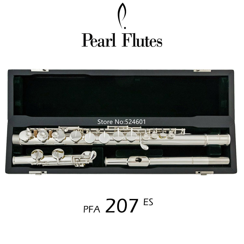 Perla Flauta PFA-207-ES 16 teclas G agujero cerrado Tune recta embocadura plateada astilla de instrumentos musicales envío
