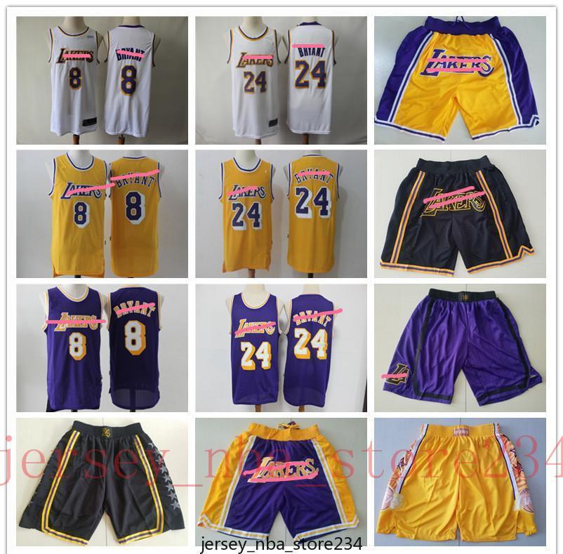 Mens LosAngelesLakersThrowback Jersey824BryantGelbe Basketballjerseys Basketballshorts Lila Gut