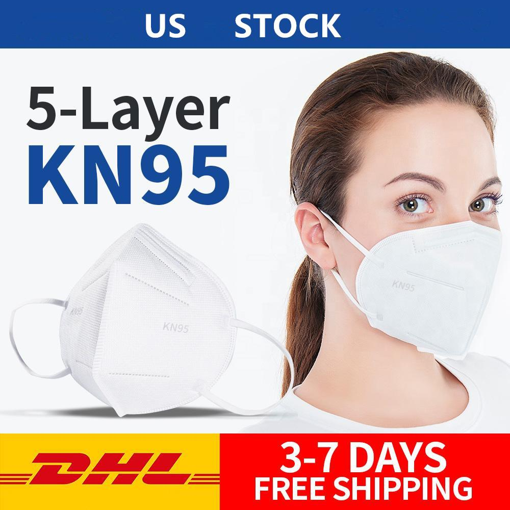 In Stock! Folding Face Mask With Box Anti-dust Protective Face Masks 5 Layers Mouth Masks Fast Free DHL Shipping From USA