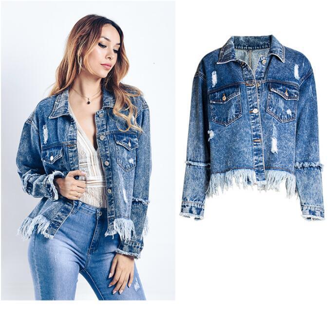 giacche di jeans delle nuove donne di stile della moda Primavera Autunno caldo perdono BF nappa Giacca di jeans top abbigliamento jeans giacca bavero parka Tuta sportiva