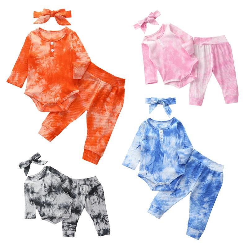 Autunno Bow fascia Inverno ragazza del neonato Tie Dye set Casual Moda Bambino + Cotton pagliaccetto + Pant 3pc Outfit Newborn a coste tuta