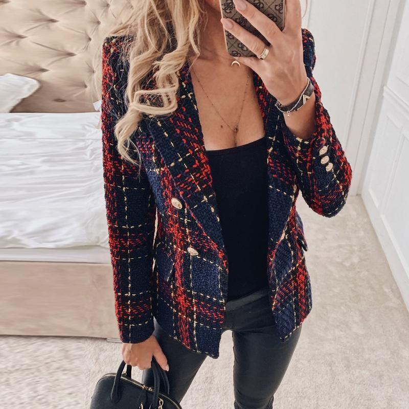 Misswim élégant tweed rouge femmes blazer à carreaux automne hiver manteau blazer double boutonnage dames femme de bureau de la mode nouvelle outwear