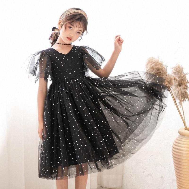 Детские платья для девочек платья Star Блестки девочек-подростков платья принцессы Лето Коротких Дети Костюмы 10 12 лет O9LP #