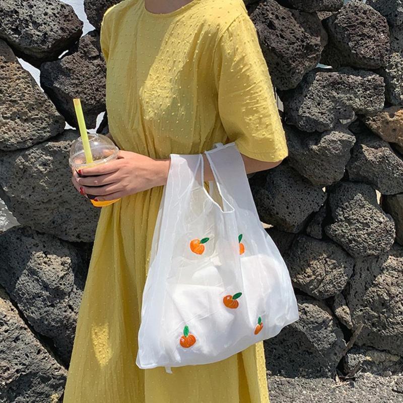 여성 오간자 과일 자수 핸드백 여성 토트 걸스 한국어 쇼핑 가방 여성 클래식 우아한 어깨 핸드백