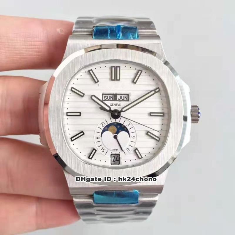 4 estilos Calendario Mejor KM Nautilus Anual Cal.324 S automáticos del reloj para hombre 5726 / 1A-010 esfera blanca correa de acero inoxidable para caballero relojes deportivos