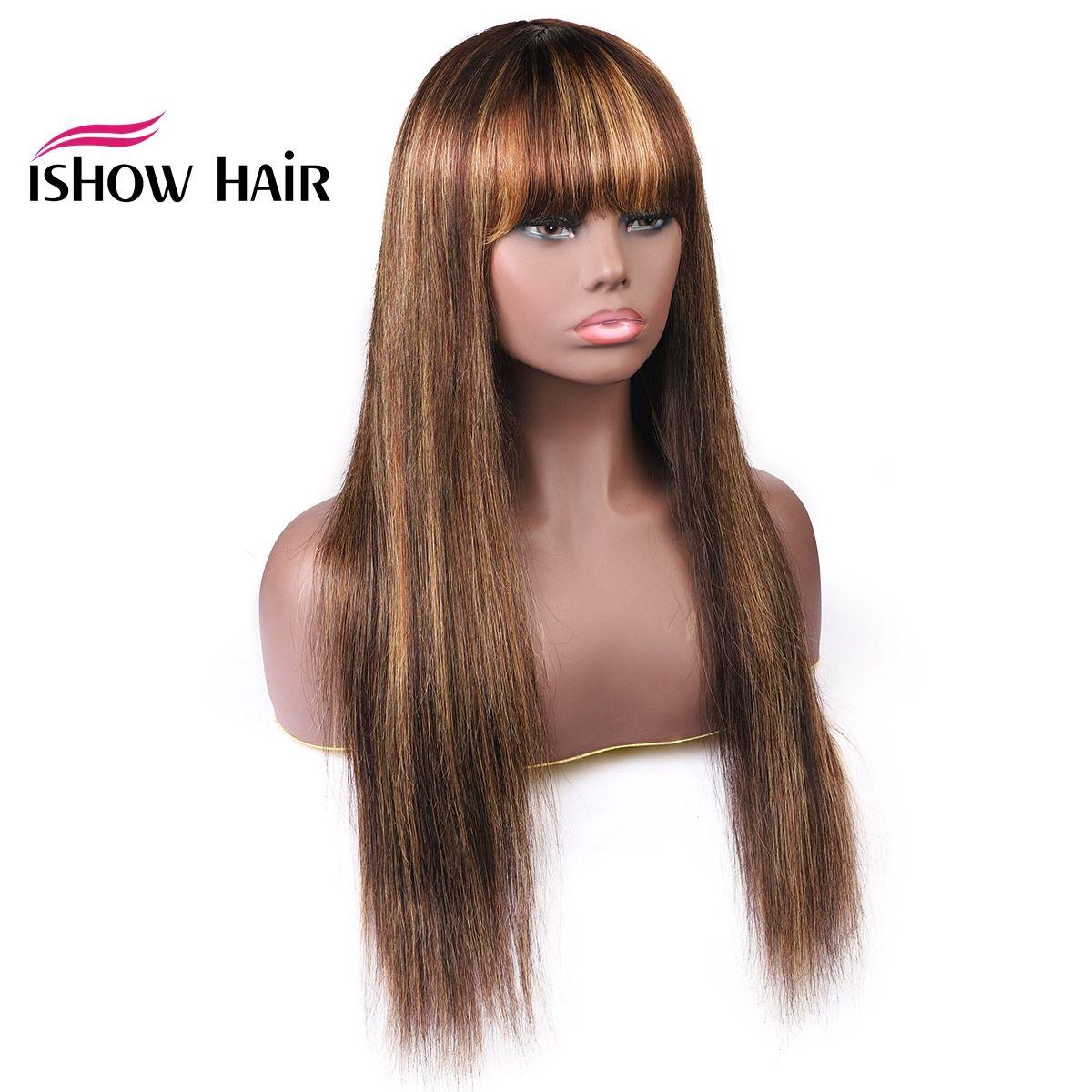 ISHOW Renkli Düz Peruk Perulu İnsan Saç Peruk Patlama ile 4/27 Turuncu Zencefil 99J İnsan Saç Yok Dantel Peruk