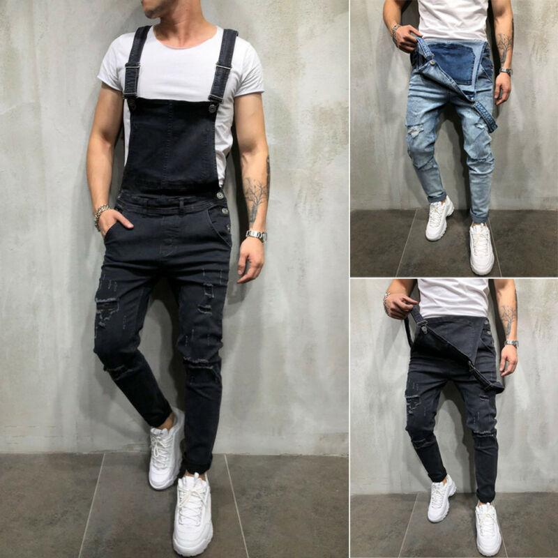 Hombres con estilo Ripped Jeans Monos Denim carpintero monos pantalones del babero del mono de los pantalones con tirantes invierno para los hombres del punk Streetwear