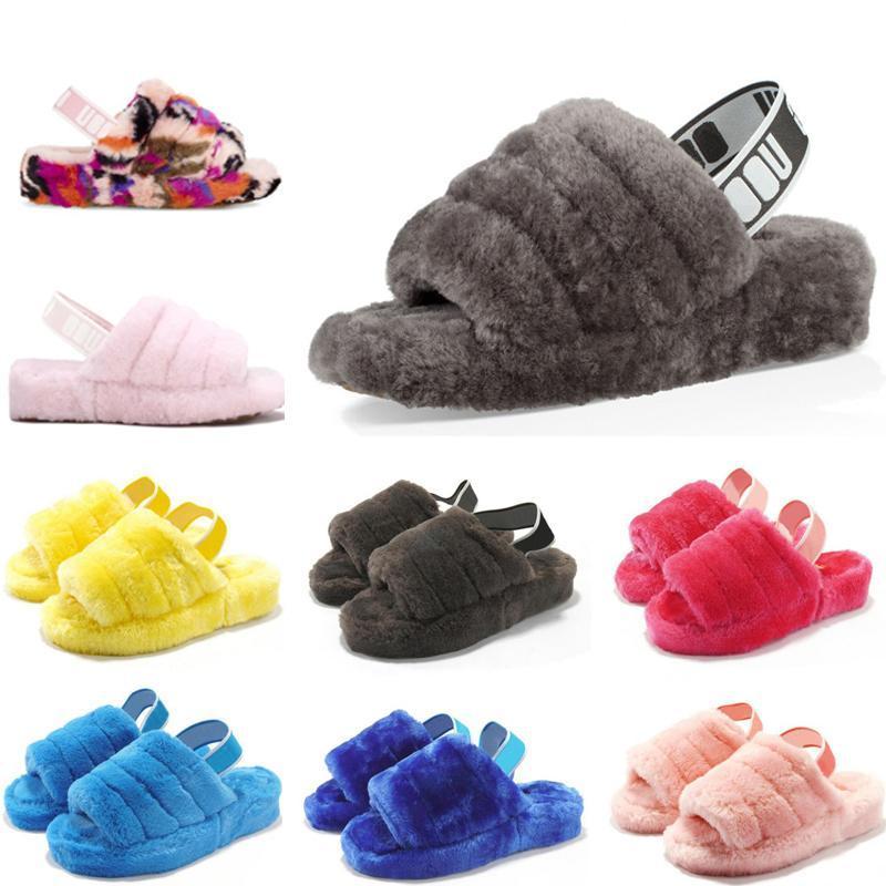 2020 Женская пуха да скользят Furry тапочки Австралия 2020 женщин повседневная обувь Роскошные сандалии Fur Слайды Тапочки T6Hw #